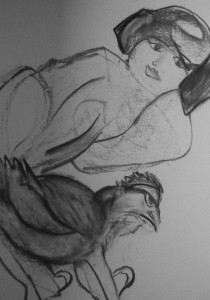 Mujer y gallo